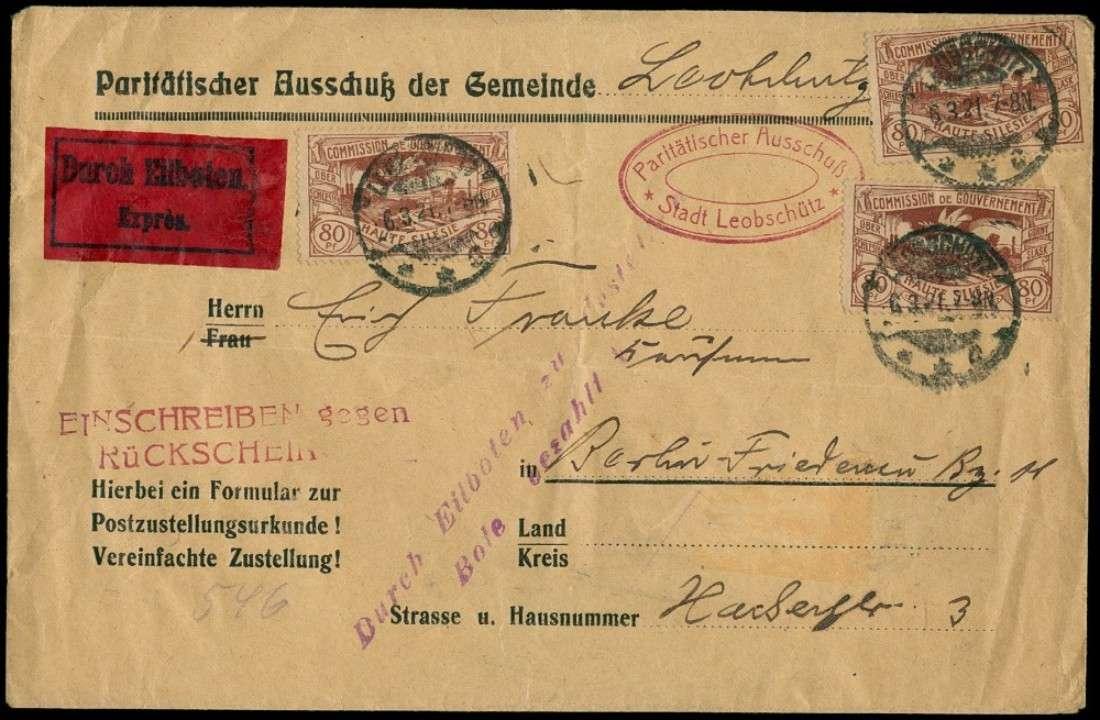 Philaseitende Deutsches Reich Oberschlesien Belege Mit Rückschein