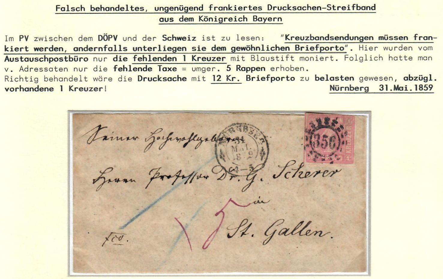 Philaseitende Portobestimmung Von Belegen Altdeutschland Bayern