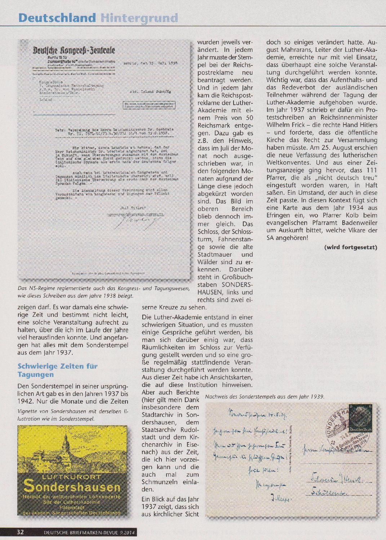 Philaseitende Sonderstempel Luther Akademie Sondershausen