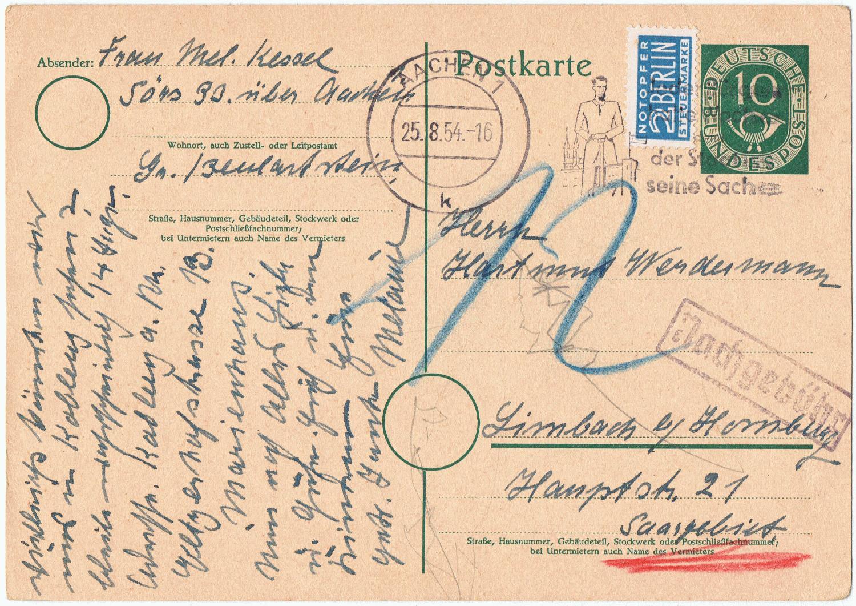 Philaseitende Post Aus Dem Saarland Oder Ins Saarland 1945 Bis 1956
