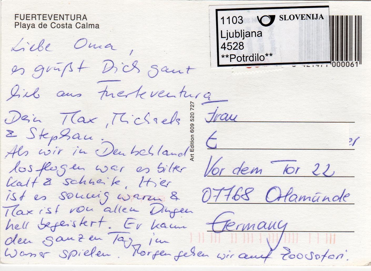 postkarte aus usa nach deutschland