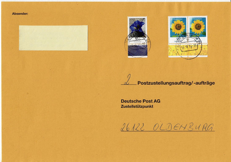 Briefe Mit Buntem Umschlag Porto : Philaseiten postzustellungsaufträge und
