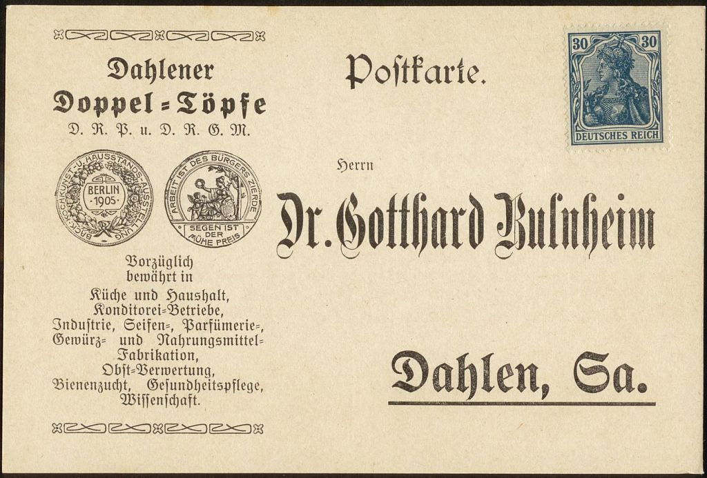 Undatierte Werbekarte Für Doppeltöpfe Aus Dahlen In Sachsen.