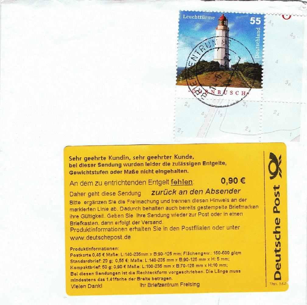 Philaseitende Deutsche Post Nicht Zulässige Briefformate