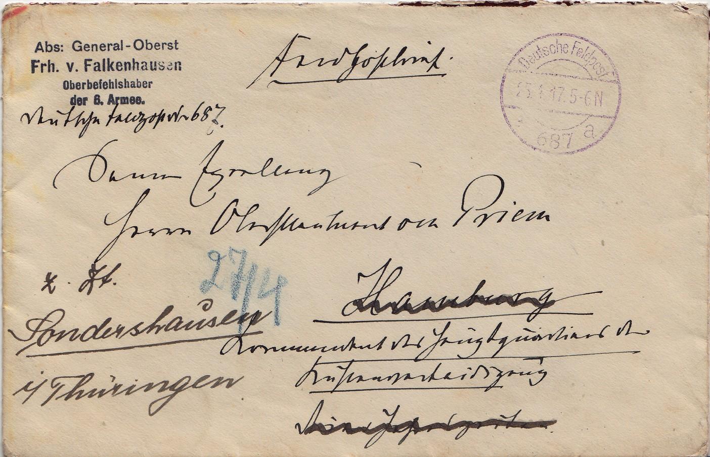 Philaseitende Deutsches Reich Feldpost 1 Weltkrieg