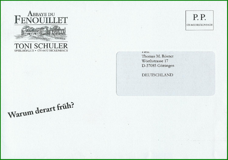 Brief Deutschland Schweiz
