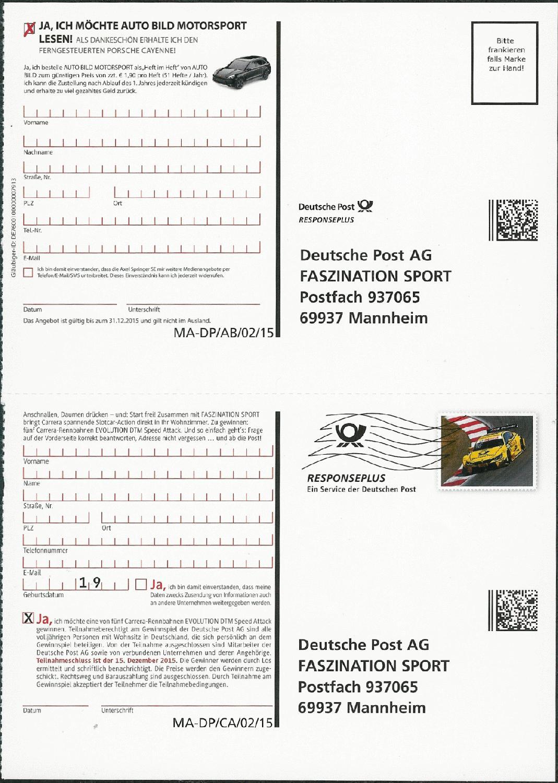 Philaseitende Deutsche Post Sendungsform Responseplus